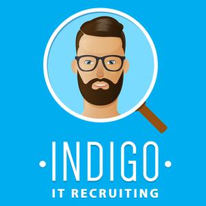 Indigo logo blue bg